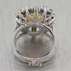 Vintage Estate 14k White Gold Opal & 1.00ctw Diamond Cocktail Ring