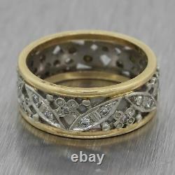 Vintage Estate 14k White Yellow Gold Diamond Filigree Wedding Band Ring