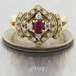 Vintage Estate 14k Yellow Gold 0.70ctw Ruby & Diamond Ring