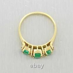 Vintage Estate 14k Yellow Gold 0.75ct Emerald & Diamond Band Ring