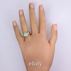 Vintage Estate 14k Yellow Gold 1.05ctw Opal & Diamond Ring