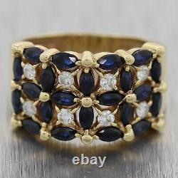 Vintage Estate 14k Yellow Gold 1.40ctw Sapphire & Diamond Band Ring