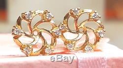 Vintage Estate 14k Yellow Gold 12 Diamonds Earring Jackets