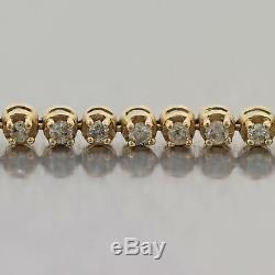 Vintage Estate 14k Yellow Gold 2ctw Diamond Tennis Bracelet