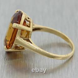 Vintage Estate 14k Yellow Gold Citrine Cocktail Ring