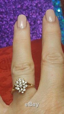 Vintage Estate 14k Yellow Gold Diamond Cluster Ring Designer Signed Igc