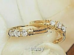 Vintage Estate 14k Yellow Gold Natural Diamond Earrings Hoops 3 Diamond Design