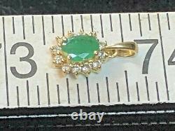 Vintage Estate 14k Yellow Gold Natural Green Emerald Diamond Pendant Halo
