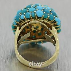 Vintage Estate 14k Yellow Gold Turquoise & Diamond Cocktail Ring