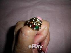 Vintage Estate 18K KT Gold Harem Princess Ring Ruby Sapphire Emerald Citrine S 6