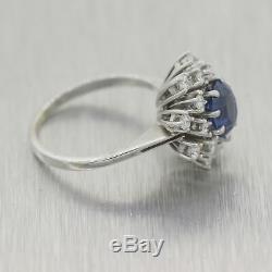 Vintage Estate 18k White Gold 2.20ctw Sapphire & Diamond Cocktail Ring