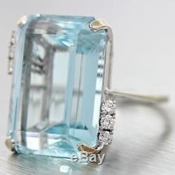 Vintage Estate 18k White Gold 33ct Aquamarine. 25ct Diamond Cocktail Ring $17500