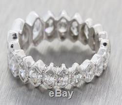 Vintage Estate 18k White Gold Marquise Cut Diamond Wedding Band Ring F8