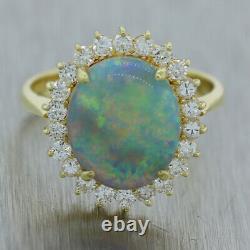 Vintage Estate 18k Yellow Gold Opal & 0.50ctw Diamond Cocktail Ring