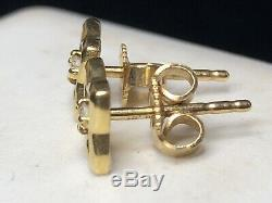 Vintage Estate 18k Yellow Stud Gold Diamond Earrings Signed Dy 750