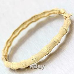 Vintage Estate Brush Solid 14k Yellow Gold Bamboo Bangle Bracelet A9