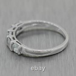 Vintage Estate Platinum 0.50ctw Baguette & Round Cut Diamond Wedding Band Ring