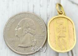 Vintage Estate Solid 18k Yellow Gold Lapis Eygptian Scarab Charm Pendant S8
