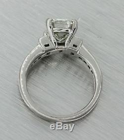 Vintage Estate Solid Platinum 2.31ctw Emerald Cut Diamond Engagement Ring GIA