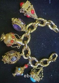Vintage Etruscan 18 Karat Yellow Gold Multi Gems Charm Bracelet Jewelry 116.3 Gr