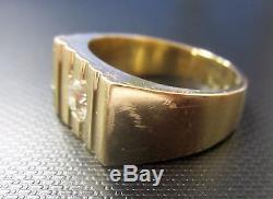 Vintage European Cut Diamond and 14k Gold Men's Ring