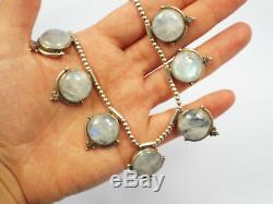 Vintage Heavy Sterling Silver Bead Ball & Large Moonstone Choker Collar Necklace