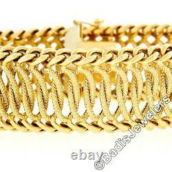 Vintage Italian UnoAErre 18k Gold Wide 7 Curb Woven Interlocking Ring Bracelet