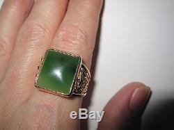 Vintage Jade 14K 583 Russian Rose Gold Filigree Men's Ring Size 11