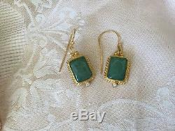 Vintage Jewellery Etruscan Antique Revival Gold Earrings with Jade Dress Jewelry