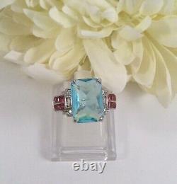 Vintage Jewellery Gold Ring Aquamarine Rubies Sapphires Antique Deco Jewelry L