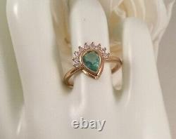 Vintage Jewellery Gold Ring Aquamarine White Sapphires Antique Deco Jewelry 8