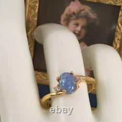Vintage Jewellery Gold Ring Blue Opal and White Sapphires Antique Deco Jewelry