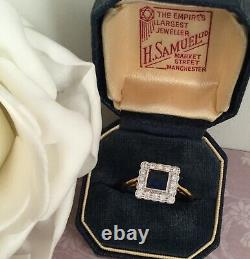 Vintage Jewellery Gold Ring Blue White Sapphires Antique Deco Jewelry size 6