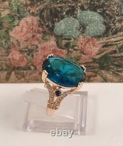 Vintage Jewellery Gold Ring London Topaz White Sapphires Antique Deco Jewelry 8