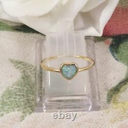 Vintage Jewellery Gold Ring Opal Heart Antique Deco Jewelry size 8 Q