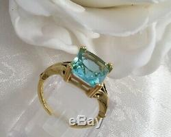 Vintage Jewellery Gold Ring with Aquamarine Antique Art Deco Jewelry sz 9 or S