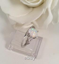 Vintage Jewellery Gold Ring with Opal White Sapphires Antique Deco Jewelry 7 O