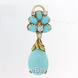 Vintage La Triomphe 18k Yellow Gold Diamond Turquoise Drop Dangle Earrings F8