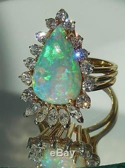 Vintage Large 18K Solid Yellow Gold Opal Diamond Cocktail Ring