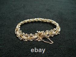 Vintage PUM 14K Yellow Gold Double Link Starter Charm Bracelet 16 Grams 7