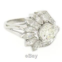 Vintage Platinum 2.31ctw GIA Round Marquise Baguette Diamond Cocktail Ring