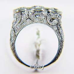 Vintage Platinum 2 Ctw Natural Diamond Three Stone Ring! Size 5.5