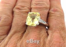 Vintage Platinum Huge 8.95ct Unheated Yellow Sapphire Diamond Ring 7.5g Sz 8