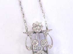 Vintage Platinum Old Mine & European Cut Diamond Pearl Necklace 6mm 1.53Ct 16.5