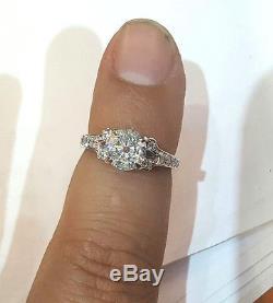 Vintage ROUND OLD mine CUT 1.51ct Diamond 14k white gold ring