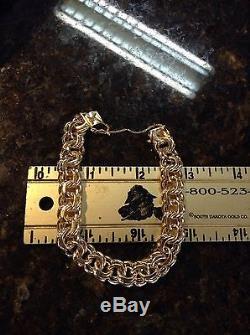Vintage Rare 14K Yellow Gold Double link Charm Bracelet 7.5
