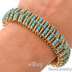 Vintage Retro 14.88cts Turquoise 18K Yellow Gold Bracelet 81.0 Grams NR