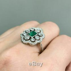 Vintage Retro Antique Art Deco Engagement Cluster Ring 14k Gold Over 3Ct Emerald