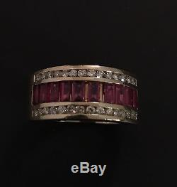 Vintage Retro Estate Found 14k Yellow Gold Heavy Diamond Ruby Women's Ring