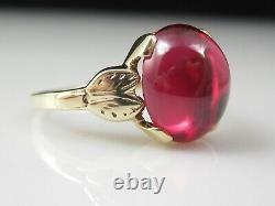 Vintage Retro Ruby Ring Estate Cabochon Size 7 DASON Yellow Gold Cabochon